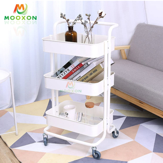 Three Layer Multifunctional Collapsible And Movable Families Storage Trolleys with Wheels