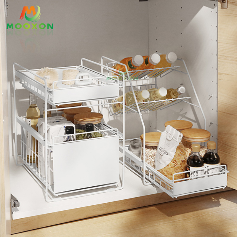 Stackable Under Sink Storage Drawer Kitchen Bathroom Organizer Metal Basket Holder Shelf