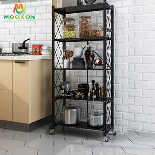 3/4/5 Tier Metal Storage Rack Foldable Clothes Shelf Kitchen Organizer Bedroom Shelves Rolling Cart