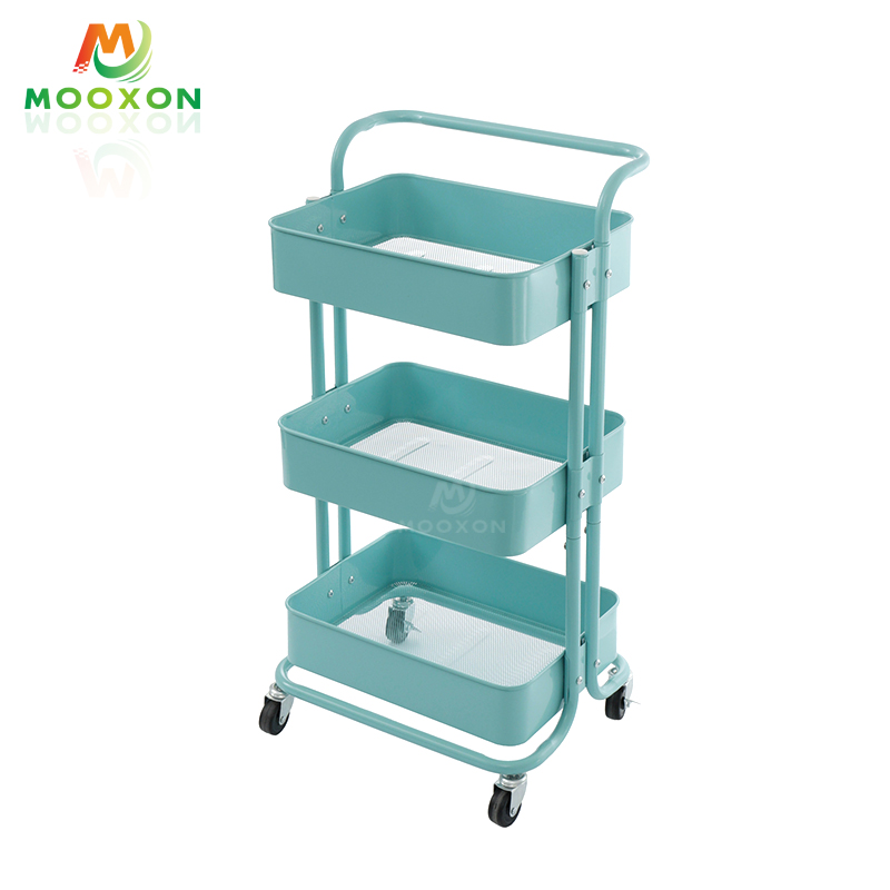 Kitchen Storage Rack Hand Cart Utility 3 Shelves Organizer Mesh Tray Rolling Trolley