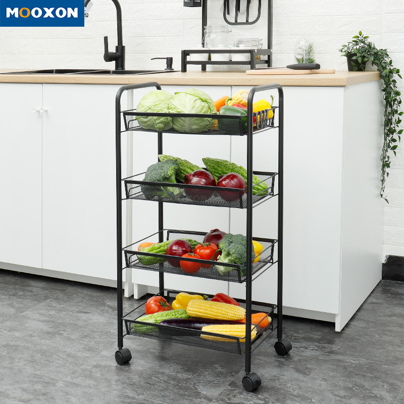 Carbon Steel 5 Tier Household Utility Rolling Trolley Cart Movable Kitchen Rack