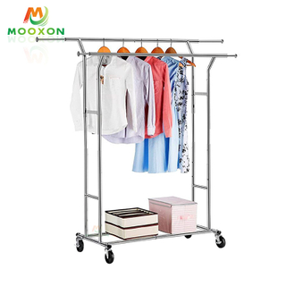 Simple Trending Clothes Shelves Coat Closet Hat Hanging Organizer Rolling Cart Garments Rack