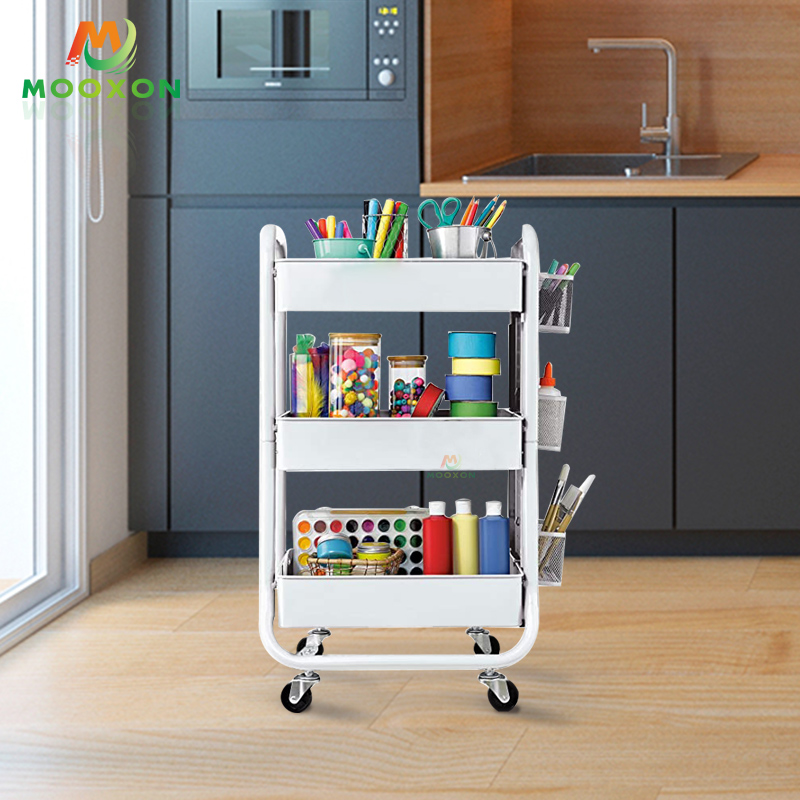 Modern Nordic Europe Strong Bearing Capacity Mobile Organizer Metal Trolley Cart
