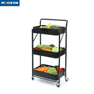 3-Tier Rolling Utility Hand Cart Mesh Storage Trolley Mobile Organizer Shelf Kitchen Rack