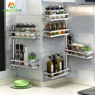 Stainless Steel Home Storage Stand 3 Tiers Revolving Spice Rack Rotating Kitchen Organizer