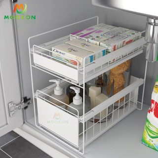 Easily Assemble 2 Tier Large Expandable Metal Towel Storage Rack Under Sink Organizer For Bathroom