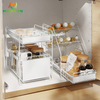 2 Tier Kitchen Storage Shelf Stackable Basket Under Sink Rack Metal Cabinet Drawer
