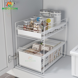 Metal Sliding Basket Under Sink Cabinet Shelf Kitchen Drawer Bathroom Storage Holder Rack