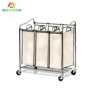 Space Save Rolling 3 Bags Foldable Laundry Storage Dryer Hanger Stand Clothes Rack