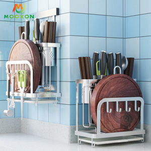 304 Stainless Steel Drying Rack Utensil Holders Kitchen Storage Knife Block Set