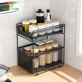 3 Tiers Sliding Drawer Organizer Racks Stainless Steel Under Sink Storage Stand for Bathroom