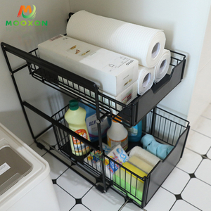 Hot Sale 3 Tier Metal Under Sink Sliding Drawer Kitchen Storage Rack