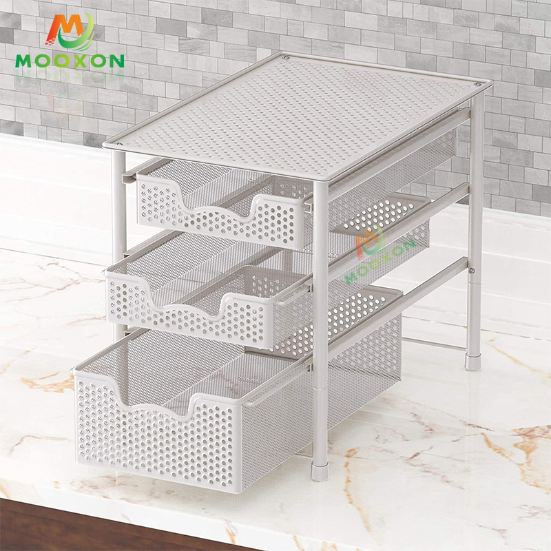 Hot Sale 2/3 Tier Stackable Metal Kitchen Shelf Storage Under The Sink Rack