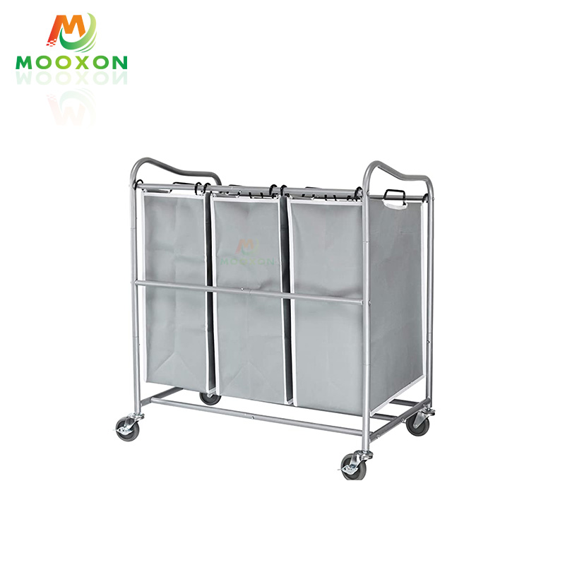 Hot Sale Restaurant Service Retractable Laundry Hamper Sorter Cart Storage Trolley