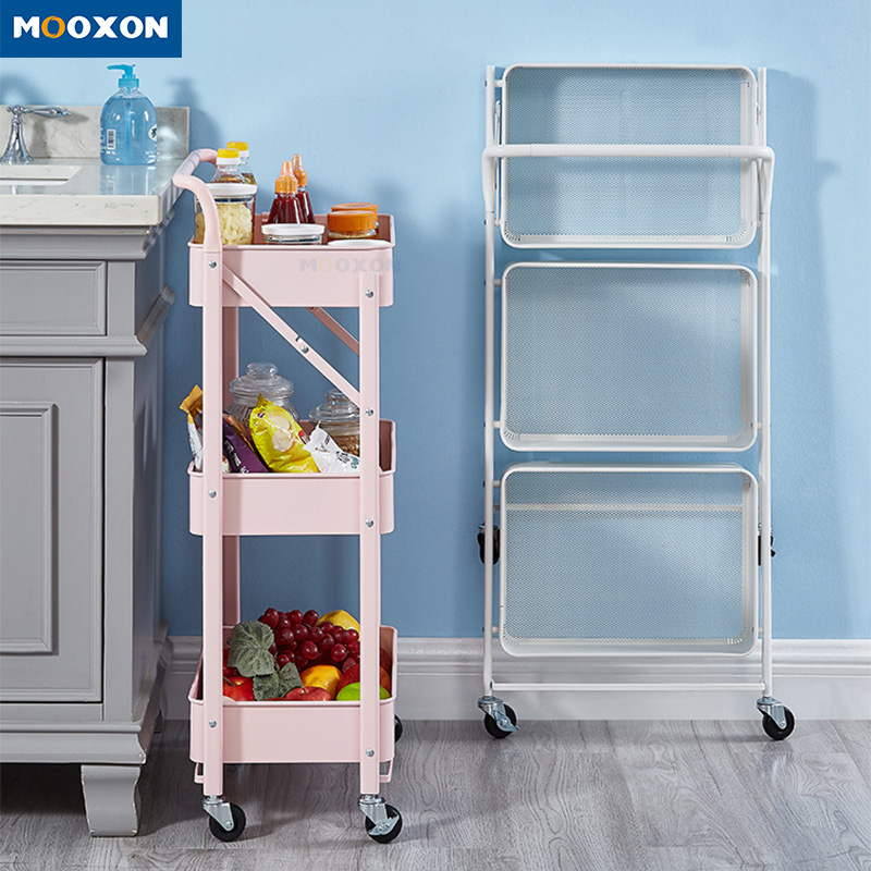 The Nordic Popular 3 Tier Rolling Utility Cart Storage Trolley Mobile Organizer Shelf