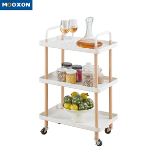 3 Tier Hand Cart Home Storage Shelf Rolling Kitchen Furniture Mobile Food Trolley Carts