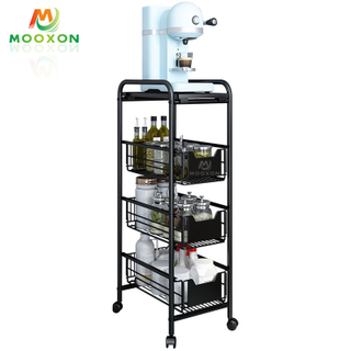 4 Tier Metal Utility Rolling Hand Cart Storage Trolley Rack Organizer Kitchen Furniture