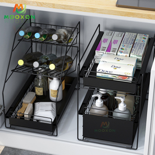 Multifunctional 3 Tiers Storage Basket Sliding Rack Expandable Under Sink Organizer