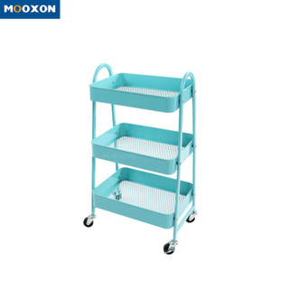 3 Tier Metal Trolley Utility Rolling Foldable Fruit Storage Baskets With Four Wheel