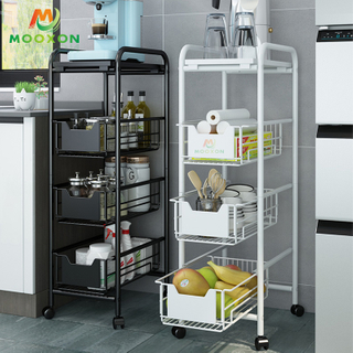 Space Save Utility Trolleys Rack Kitchen Storage Rack Mobile Trolley with Wheels