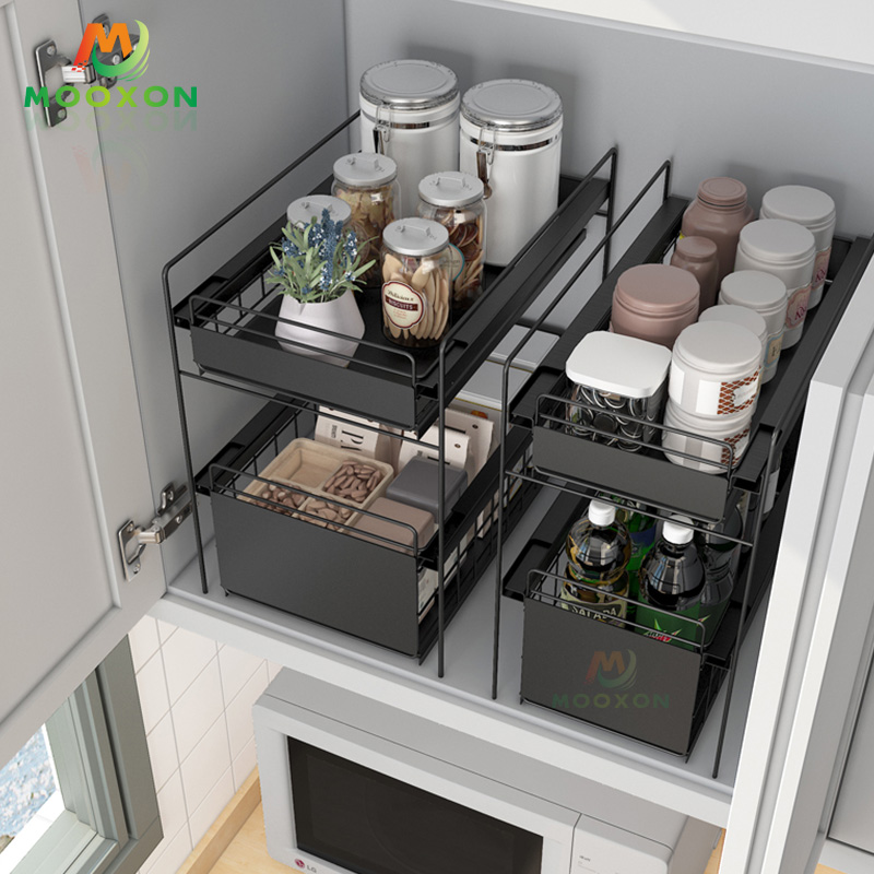 Hot Sale 2 Tiers Home Multifunction Organizer Storage Basket Drawer Under Sink Rack