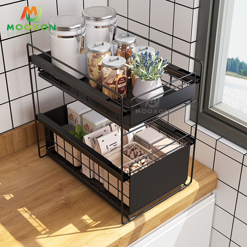 Home Organizer Storage Basket Drawer Stretch Cabinet Expandable Under The Sink Rack