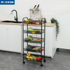 Modern Rolling Movable 4 Tier Carbon Steel Trolley Cart Storage Rack With Wheels