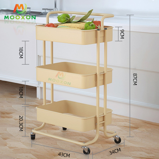 3 Tier Multi-Function Kitchen Rolling Organizer Hotel Service Storage Rack Trolley Cart