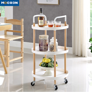 Restaurant Supplier 3 Tiers Nordic Design Rolling Service Kitchen Cart Food Trolley