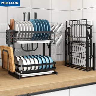 2 Tiers Foldable Storage Drainer Plate Holder Drying Organizer Kitchen Dish Rack