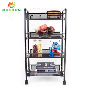 3/4/5 Tier Metal Shelf Rolling Utility Cart Mesh Wire Storage Trolley Organizer Kitchen Rack