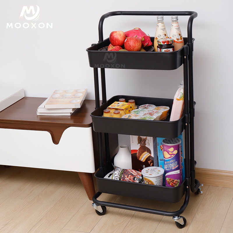 Good Capacity 3 Tier Four-Wheel Living Room Storage Holder Rolling Hand Cart