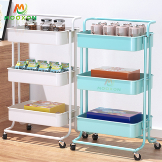 Modern Style Bathroom Storage Trolley 3-Tier Metal Kitchen Vegetable Cart Portable Shelf Rack With Wheels