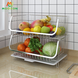 Kitchen Organizer 2 Tier Wire Fruit Display Rack Stainless Steel Stackable Basket