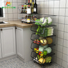 Kitchen Storage 3 Tier Black Wire Vegetables Fruit Organizer Rolling Stackable Metal Basket