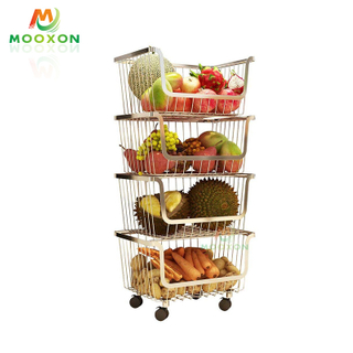 2020 New Iron Metal Wire Stacking Storage Bins Stackable Basket Rack For Holders