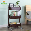 Carbon Steel Kitchen Storage Shelf 3 Tiers Metal Rolling Cart For Home