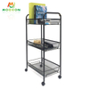 Mesh Wire Rolling Utility Cart Wheels Steel Basket Shelving Trolley Rack Kitchen Storage Cart