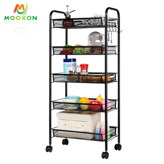 3/4/5Tiers Mesh Wire Basket Rolling Storage Rack Office Utility Cart