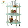 Nordic Kitchen Household Organizer Carbon Steel Storage Shelf Rack Utility Rolling Trolley Cart