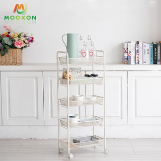 3/4/5Tier Metal Shelf Rolling Utility Cart Mesh Wire Storage Trolley Organizer Kitchen Rack