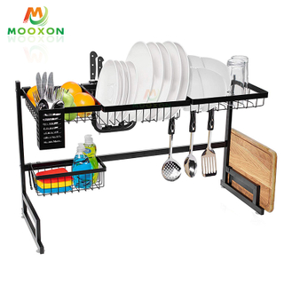 91cm Fashion Design Stainless Steel Storage Dish Shelf Kitchen Organizer Dish Rack