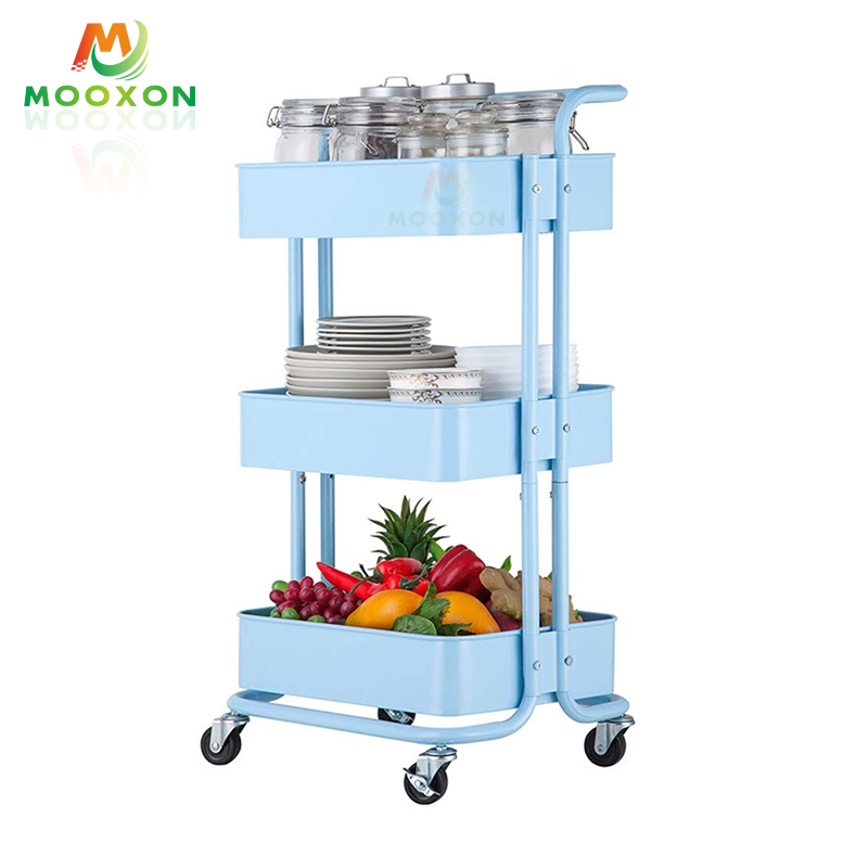 3 Tier Metal Mesh Rolling Rack Kitchen Cart Utility Organizer Storage Trolley