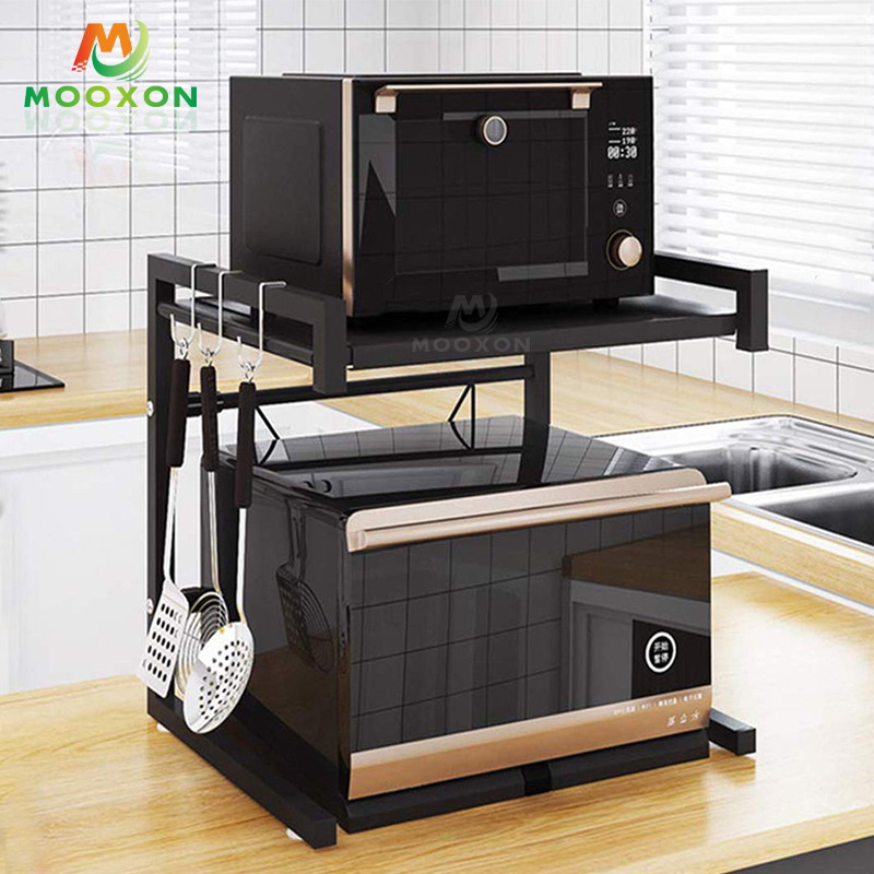 Standing Double Kitchen Storage Holders Adjustable Multifunctional Microwave Oven Shelf Rack