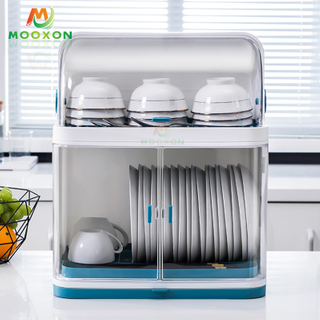Dish Drying Rack Plate Drainer Tray Lid Dishware Storage Box Drain Kitchen Plastic Organizer