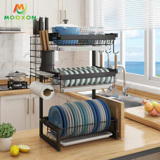 2/3 Tiers Standing Kitchen Drying Bowl Holder Drainer Metal Storage Organizer Dish Rack