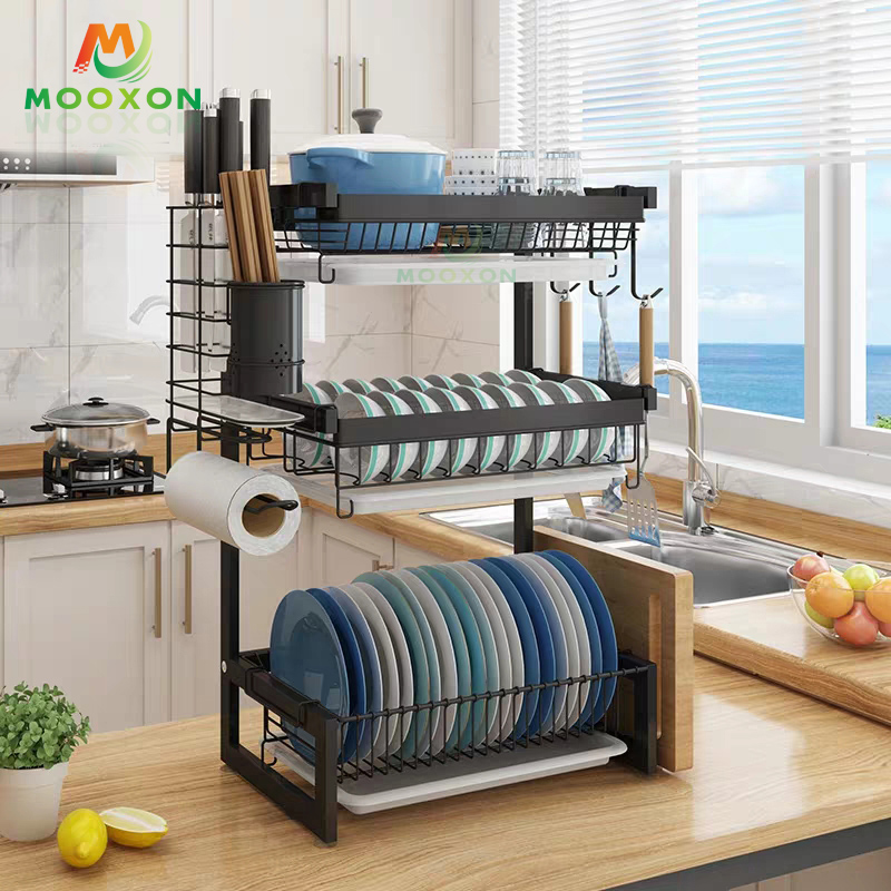 Black 2/3 Tiers Stainless Steel Kitchen Drainning Dish Plate Racks For Kitchen