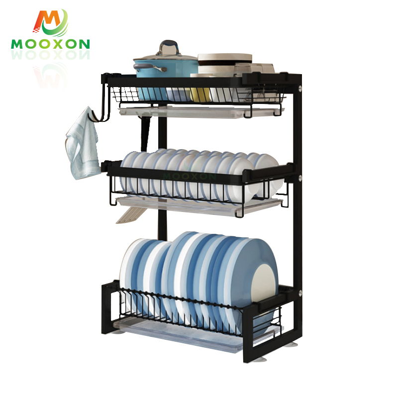 Stainless Steel Kitchen Organizer Dishes Drainer Holder Storage Stand Plate Drying Rack